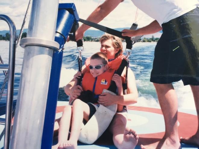 mom & j on boat